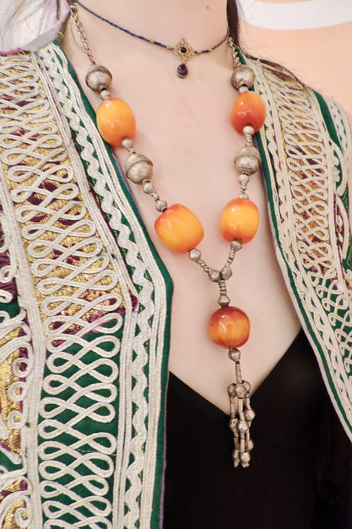 Vintage Harar Long Silver And Amber Necklace