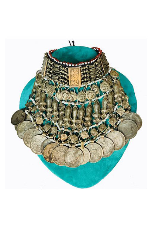 Vintage Afghan Choker With Vintage Iranian Coins