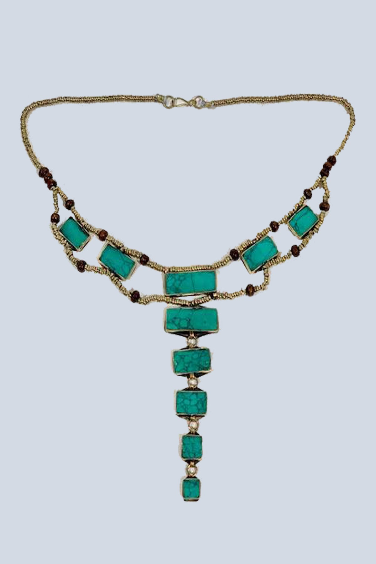 Malachite Afghan Pyramid Necklace