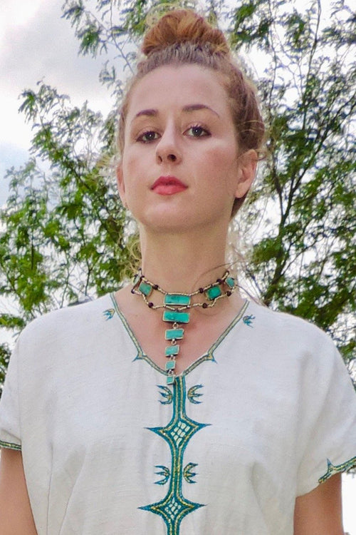 Afghan Pyramid Necklace - Malachite