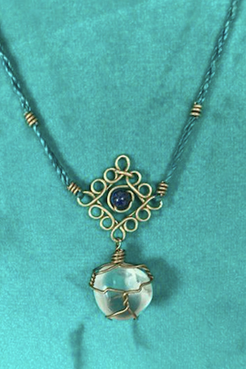 Mandala Necklace - Smooth Clear Quartz With Blue