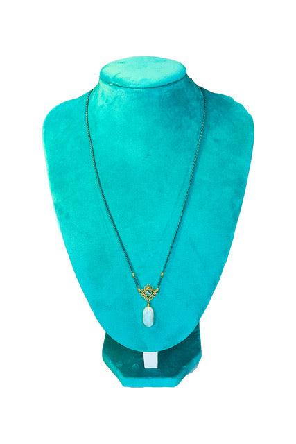 Mandala Necklace - Teal With Larimar