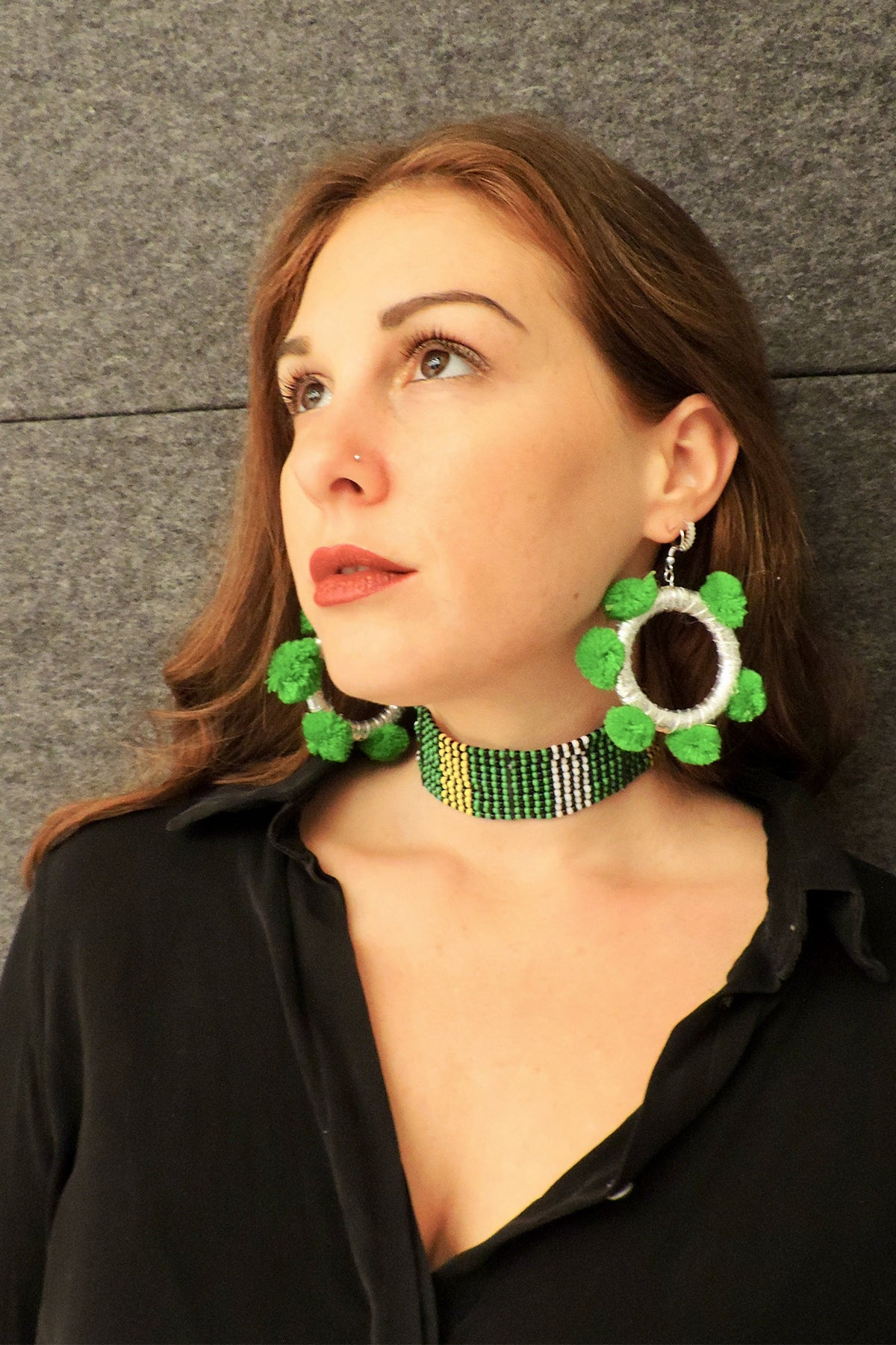 Green Envy- Pom Pom Hoops
