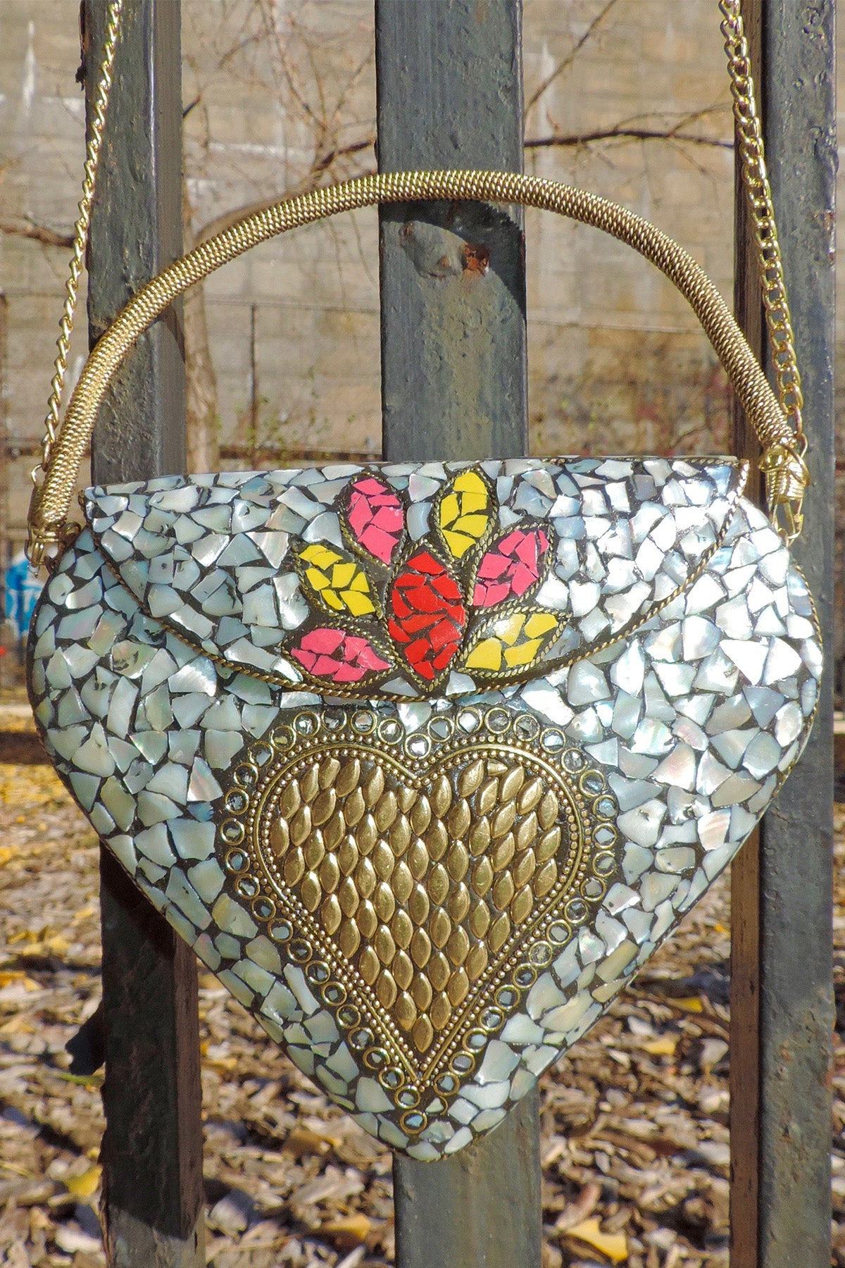 Sacred Heart Coquillage - BoBo Designed Mosaic Bag