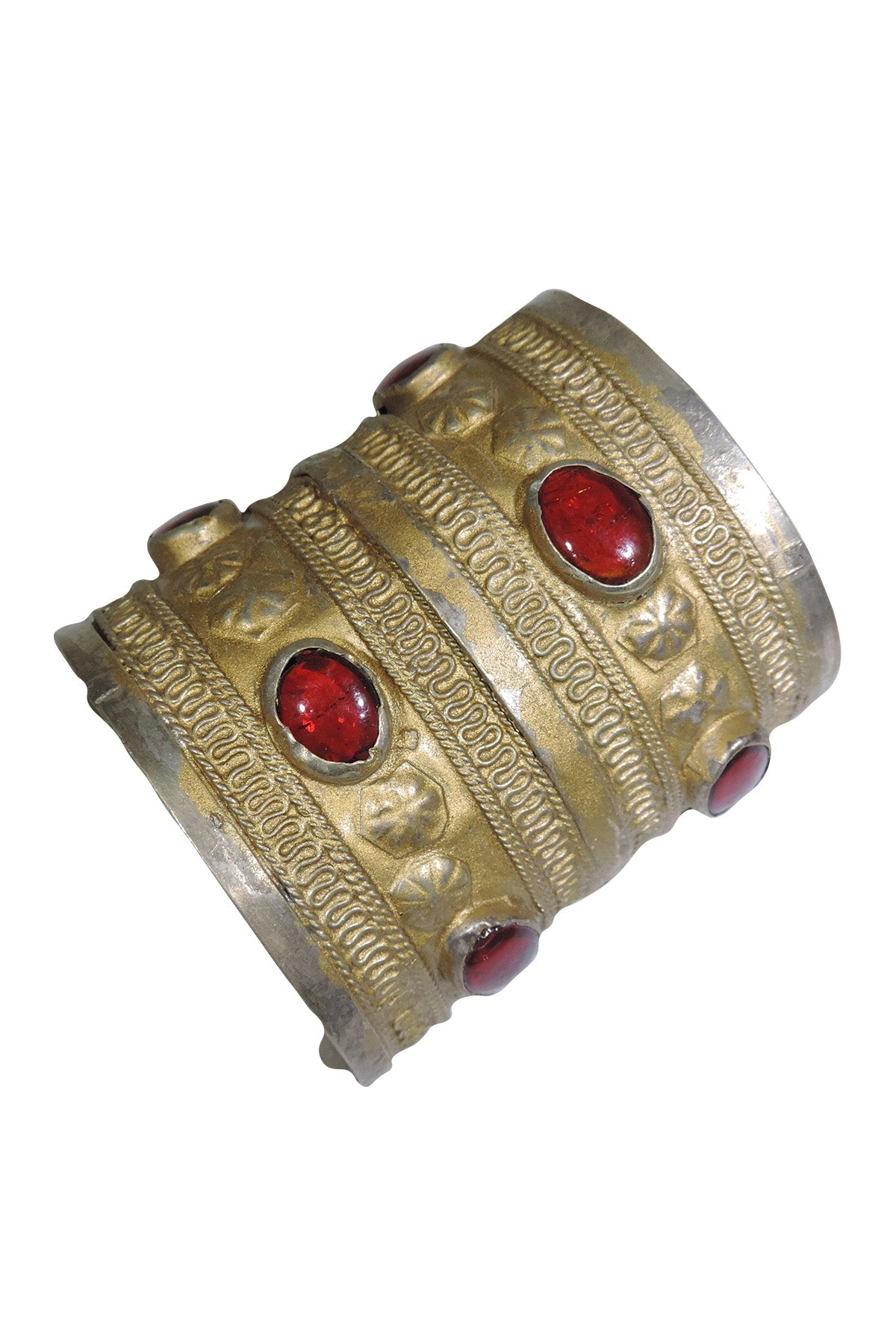 Vintage Turkmen Red Stone Gold Cuff