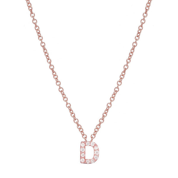 ROSE GOLD INITIAL NECKLACE - Sugar Bean Jewelry - 4