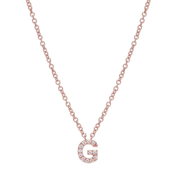 ROSE GOLD INITIAL NECKLACE - Sugar Bean Jewelry - 7