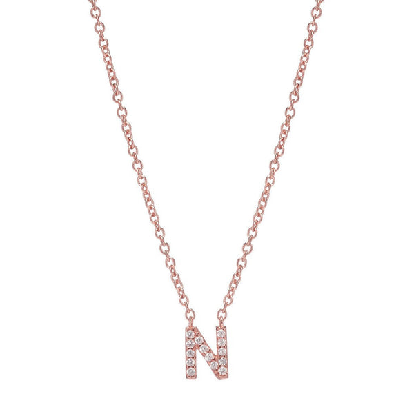 ROSE GOLD INITIAL NECKLACE - Sugar Bean Jewelry - 14