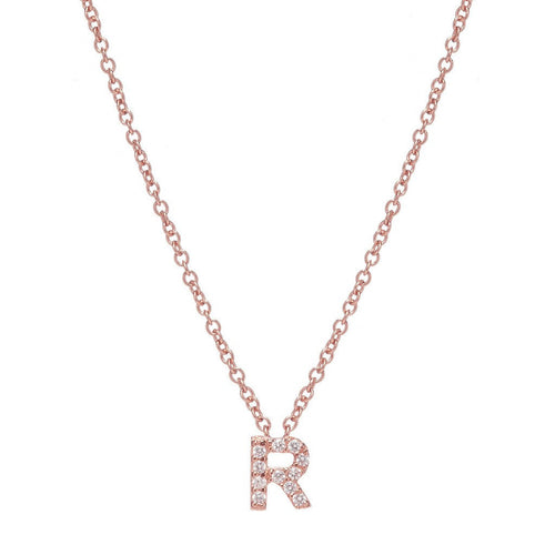 ROSE GOLD INITIAL NECKLACE - Sugar Bean Jewelry - 17