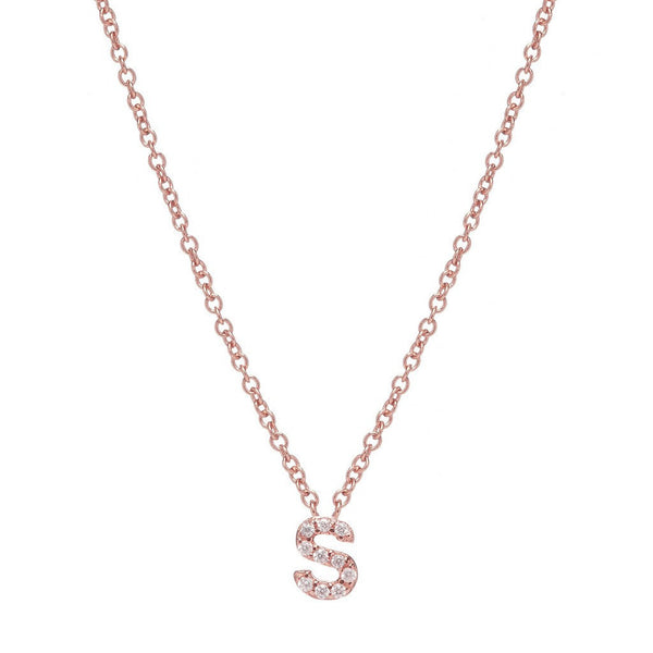 ROSE GOLD INITIAL NECKLACE - Sugar Bean Jewelry - 18