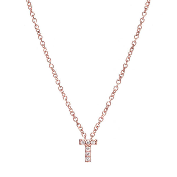 ROSE GOLD INITIAL NECKLACE - Sugar Bean Jewelry - 19