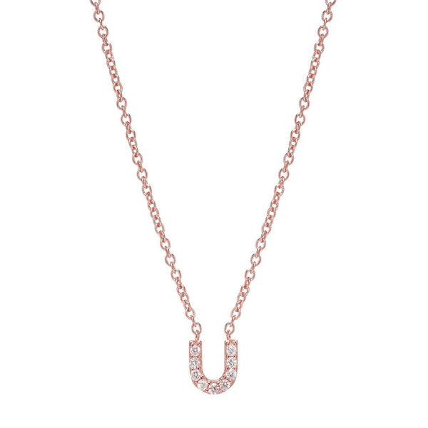 ROSE GOLD INITIAL NECKLACE - Sugar Bean Jewelry - 20
