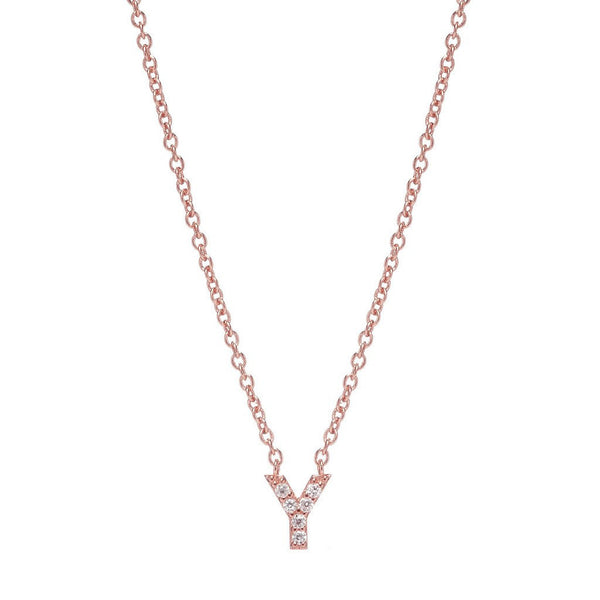 ROSE GOLD INITIAL NECKLACE - Sugar Bean Jewelry - 24