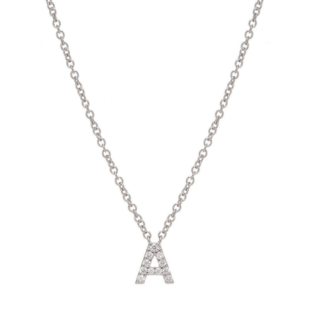 INITIAL NECKLACE RHODIUM PLATE