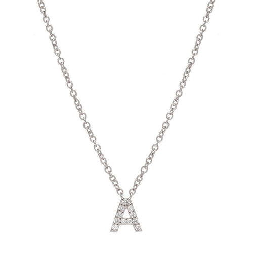 SILVER INITIAL NECKLACE - Sugar Bean Jewelry - 1