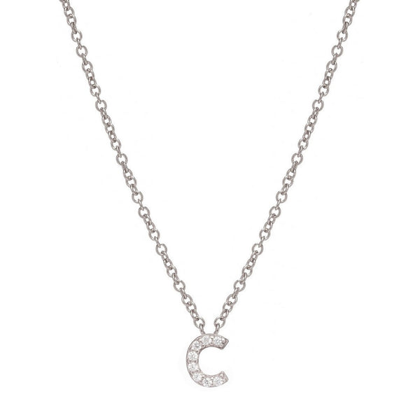 SILVER INITIAL NECKLACE - Sugar Bean Jewelry - 3