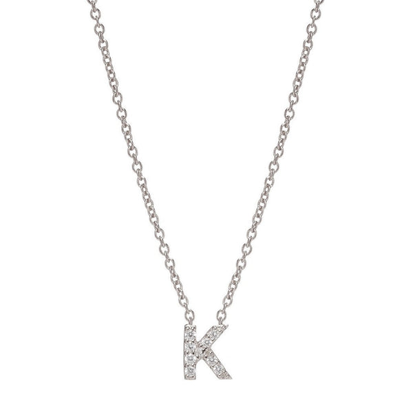 SILVER INITIAL NECKLACE - Sugar Bean Jewelry - 11