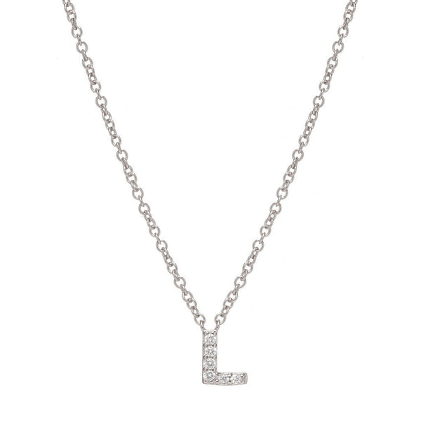 SILVER INITIAL NECKLACE - Sugar Bean Jewelry - 12