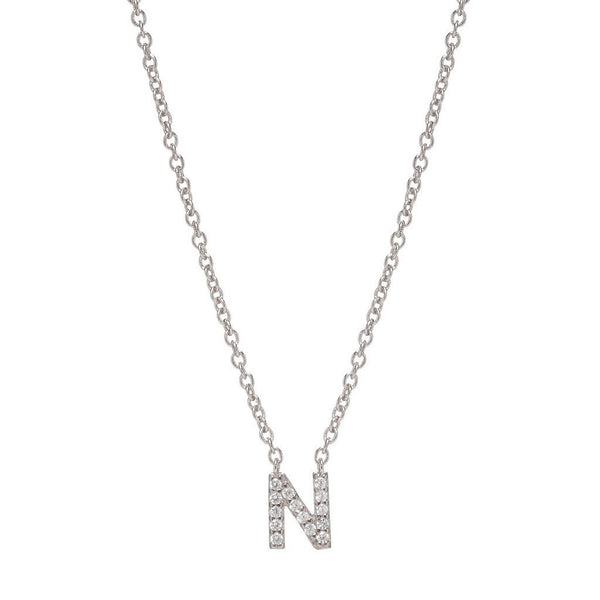SILVER INITIAL NECKLACE - Sugar Bean Jewelry - 14