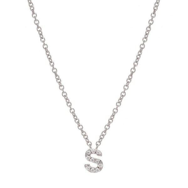 SILVER INITIAL NECKLACE - Sugar Bean Jewelry - 18