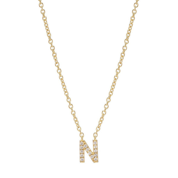 GOLD INITIAL NECKLACE - Sugar Bean Jewelry - 14