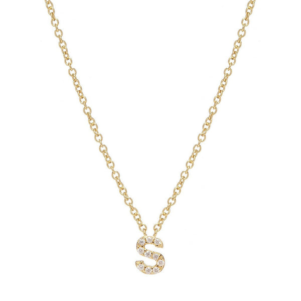 GOLD INITIAL NECKLACE - Sugar Bean Jewelry - 18