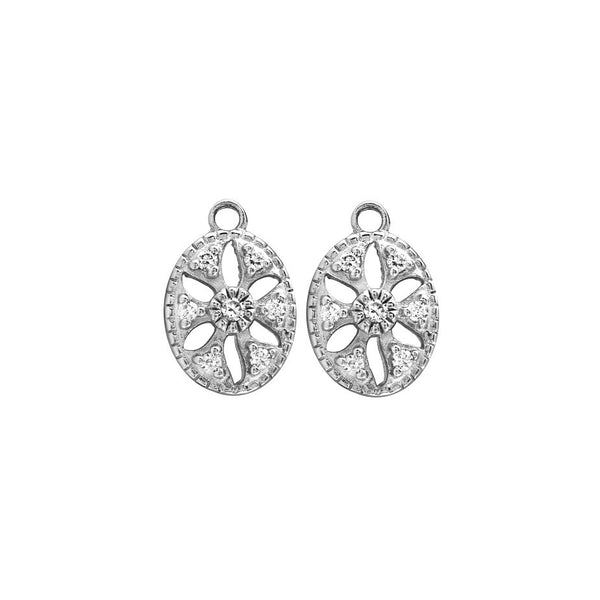 OVAL FLOWER EARRING CHARMS