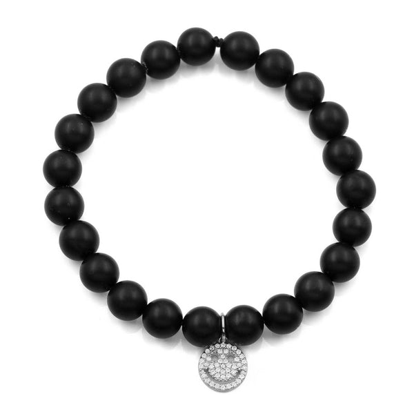 BLACK ONYX HAPPY FACE BRACELET