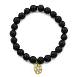 BLACK ONYX OVAL FLOWER BRACELET