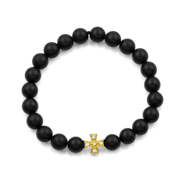 BLACK ONYX SQUARE CROSS BRACELET