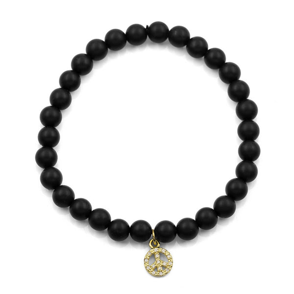 BLACK ONYX SMALL PEACE BRACELET