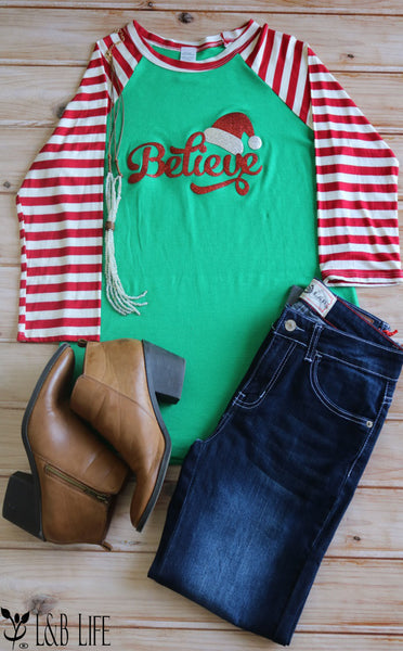 LW#3246 BELIEVE- GREEN/RED