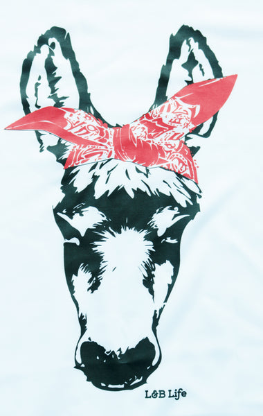Donkey With Red Bandana Lucky And Blessed Life Llc L Amp B
