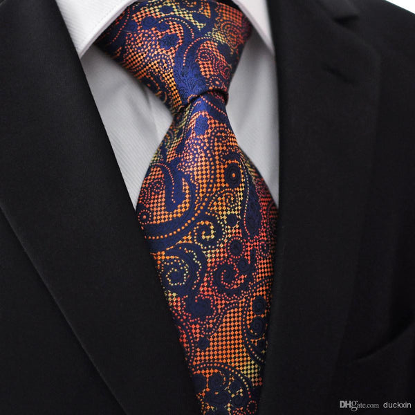 M20 Extra Long Size Pattern Floral Multicolor Navy Mens Ties Neckties 100% Silk