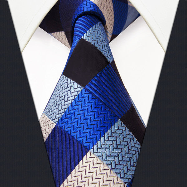 S2 Checked Blue Silver Black Mens PLAID NECKTIE 100% Silk Jacquard Woven