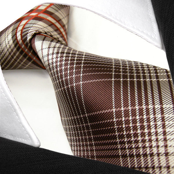 New Checked Brown Red Khaki Mens Neckties Ties 100% Silk PLAID NECKTIE Jacquard Woven Brand