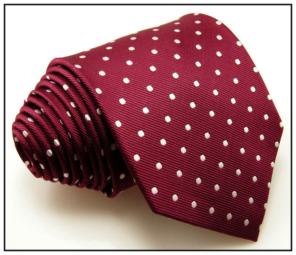 S15 Dots Red Crimson White Mens Ties Neckties 100% Silk Extra Long Size Jacquard