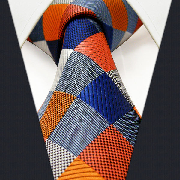 S17 Extra Long Size Checked Multicolor Mens PLAID NECKTIE 100% Silk Jacquard Woven