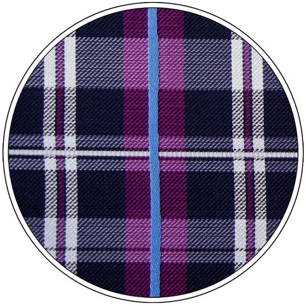 S14 Extra Long Size Handmade Checked Purple Blue White Navy Mens PLAID NECKTIE