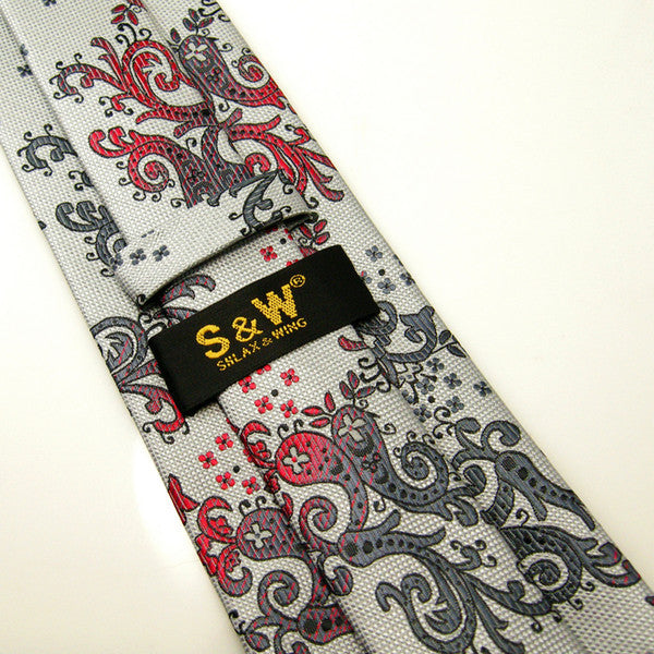 K11 Floral Silver Gray Red Mens New Necktie Ties 100% Silk Extra Long Size Class