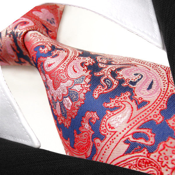 Q23 Paisley Baby Pink Navy Mens Neckties Ties 100% Silk Jacquard Woven Brand New