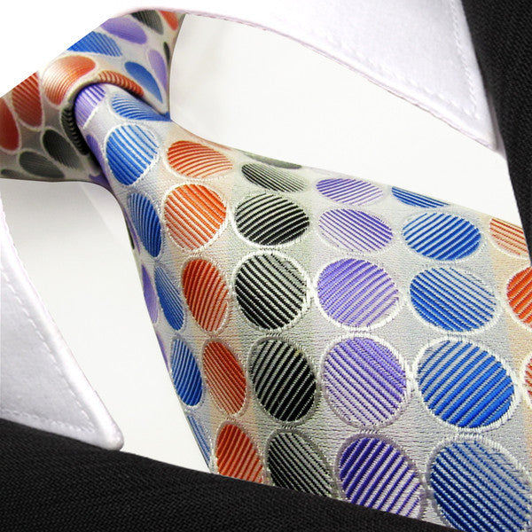 M8 Dots Multicolor White Orange Blue Purple Black Mens Ties Neckties 100% Silk Jacquard Woven Brand New
