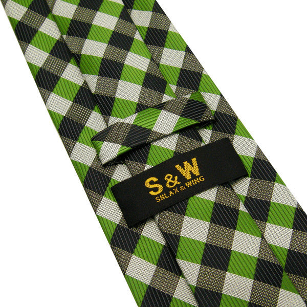 Checked Green Gray Black White PLAID Necktie 100% Silk Jacquard Woven