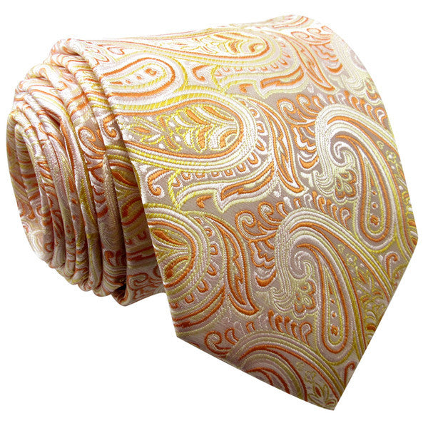 K14 Paisley Orange Yellow Mens Neckties Ties 100% Silk Handemade Wedding Fashion