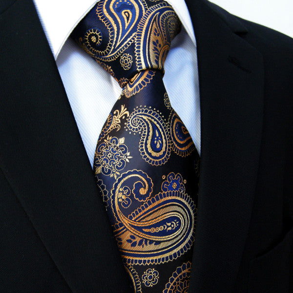 U10 Multi-color Gold Blue Navy Paisley Mens Tie Neckties Jacquarhsia Dark Gray Grey Mens Ties 100% Silk Jacquard Woven