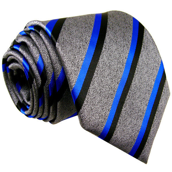 S11 Stripes Gray Blue Black Grey Mens jacquard woven New Necktie Ties Extra Long Size Fashion 1