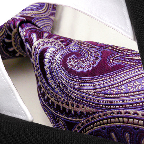 K12 Paisley Purple Lavender Mens Neckties Ties 100% Silk Extra Long Size Jacquard Woven Handmade