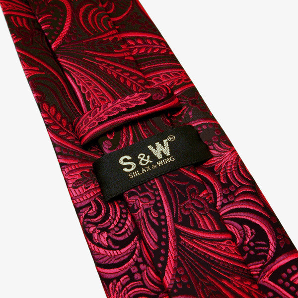 Floral Black Red Crimson Men Ties Extra Long Size Neckties 100% Silk Jacquard Wo