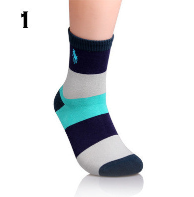 2015 New Arrival Hot Sell Men Striped Polo Socks 100% Cotton Patchwork Absorbent