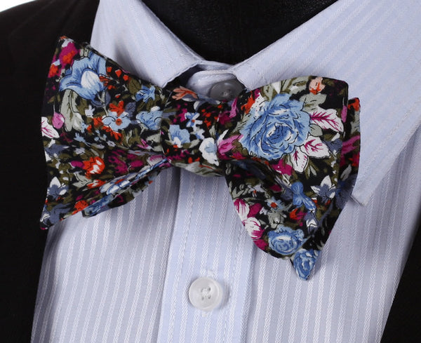 BMF201B Blue Pink Floral 100%SILK MEN BUTTERFLY SELF TIE BOW TIE POCKET SQUARE S